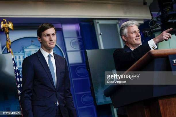 Senior Advisor to the President Jared Kushner and National Security Advisor Robert O'Brien participate in a press briefing at the White House on...