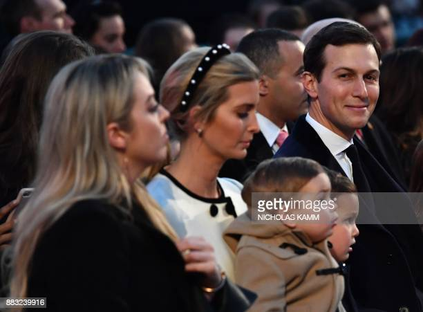 Senior Advisor to the President Jared Kushner Ivanka Trump and Tiffany Trump wait for the arrival of US President Donald Trump before the 95th annual...
