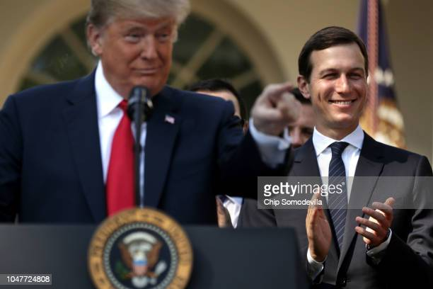 Senior Advisor to the President Jared Kushner join US President Donald Trump as he holds a press conference to discuss a revised US trade agreement...