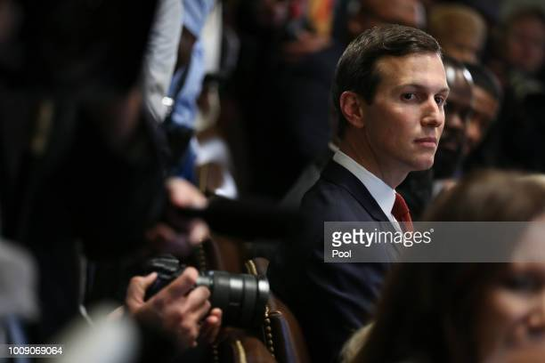 Senior Advisor to US President Donald Trump Jared Kushner attends a meeting with inner city pastors in the Cabinet Room of the White House on August...