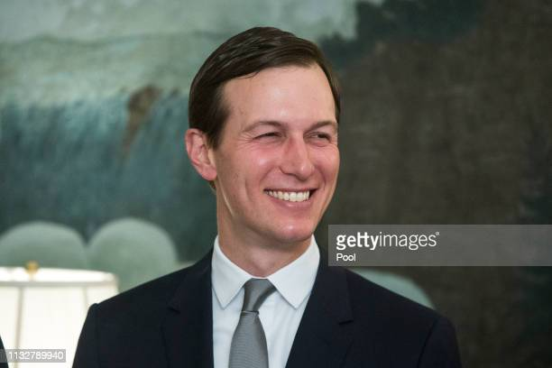 Senior Advisor to US President Trump Jared Kushner attends an event where US President Donald J Trump signed an order recognizing Golan Heights as...