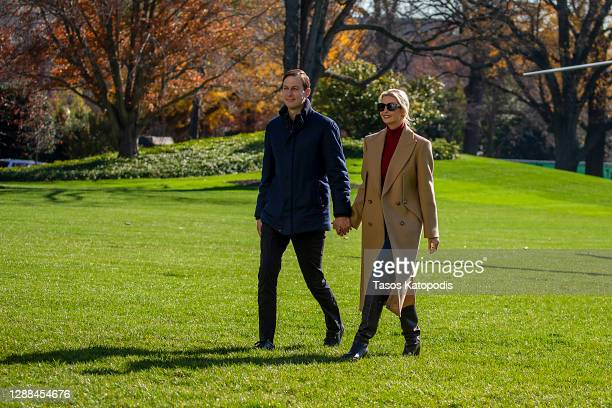 Senior Advisors to the President Jared Kushner and Ivanka Trump walk on the south lawn of the White House on November 29, 2020 in Washington, DC....