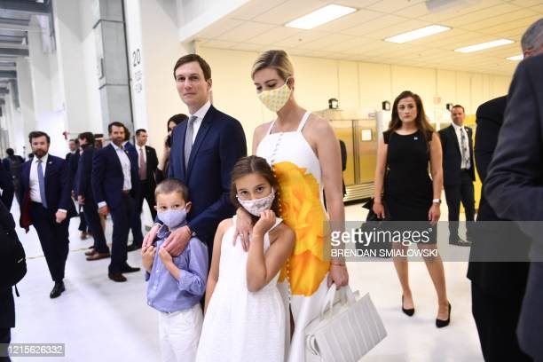 Senior Advisors to the President Jared Kushner and Ivanka Trump with their children arrive at the Kennedy Space Center in Florida on May 27 2020 US...