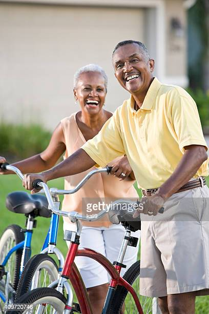 Senior African American couple with bicycles