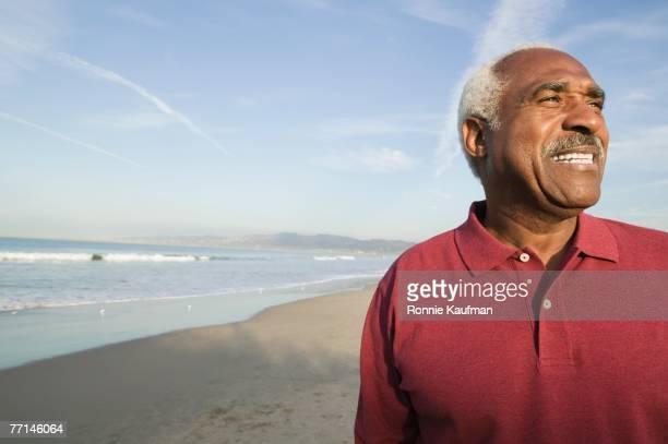 Senior African American man on beach