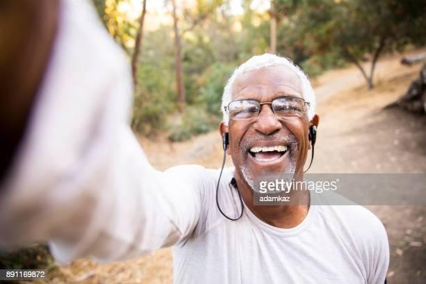 Senior African American Man Taking a Selfie
