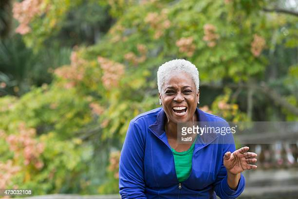 Senior African American woman laughing