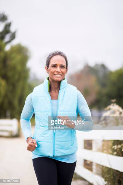 Senior African American Woman Running