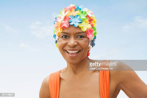 Senior African woman in old-fashioned swim cap