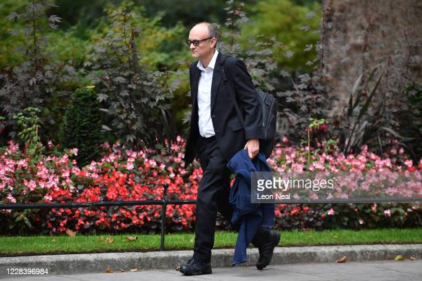 Senior aide to Prime Minister Boris Johnson Dominic Cummings arrives at Downing Street on September 8 2020 in London England