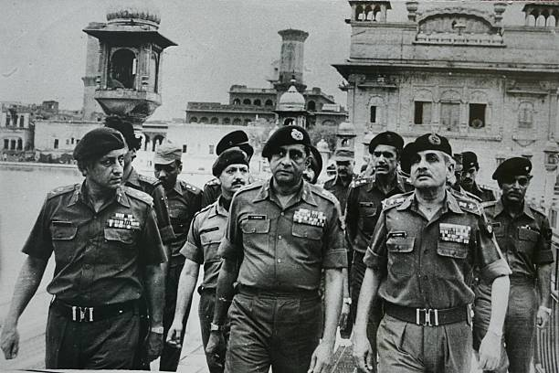 Senior army officers at the site of the military operation Operation Blue Star was a military operation ordered by Indira Gandhi the then Prime...