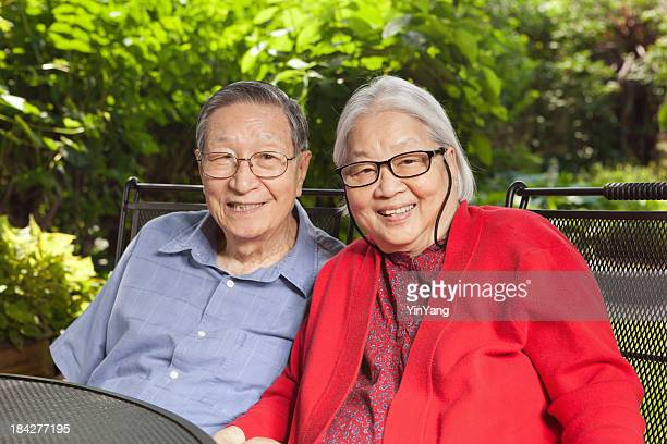 Senior Asian Couple, Chinese Mature Adult Retired Grandparents Family Outdoors