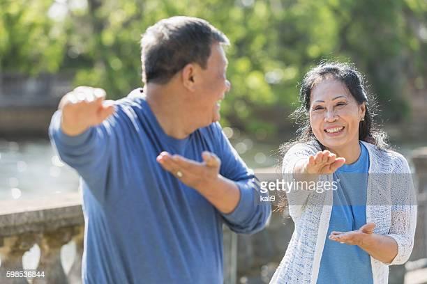 Senior Asian couple doing tai chi in park