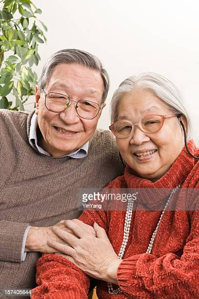 Senior Asian Couple, Retired Chinese Grandparents Happy Together at Home