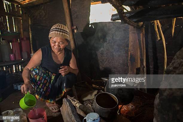 senior mujer asiática en la cocina con madera de incendios - flores indonesia fotografías e imágenes de stock