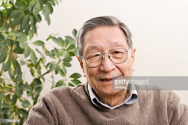 Senior Asian Man, an Old Chinese Grandfather Smiling in Retirement