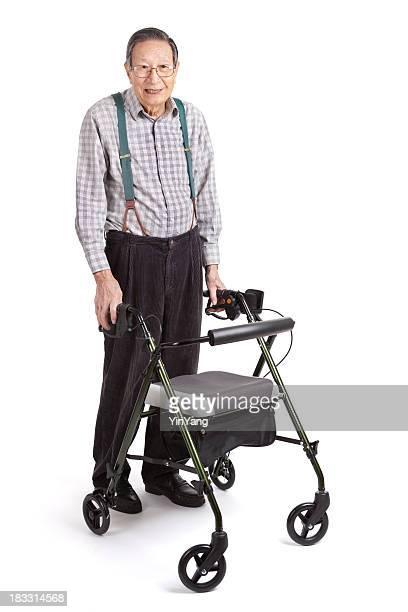 Senior asiatischen Mann mit Orthopädischer Walker, Ganzkörper-Weißer Hintergrund