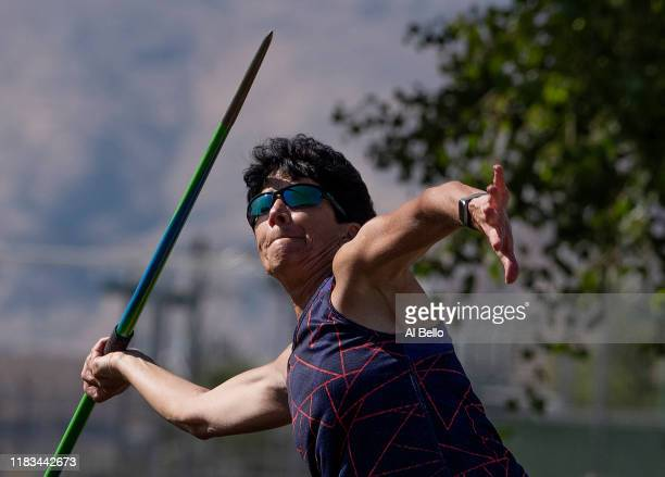Senior athlete Linda Cohn aged sixty six competes in the Javelin event during the Huntsman World Senior Games on October 14 2019 in St George Utah...