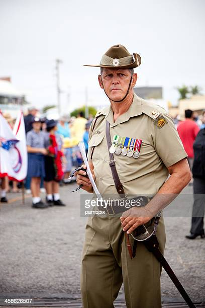 senior australian soldier on anzac day - military uniform stock pictures, royalty-free photos & images