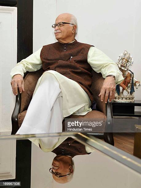 Senior Bhartiya Janata Party leader LK Advani during meeting with US Ambassador to India Nancy J Powell on June 5 2013 in New Delhi India