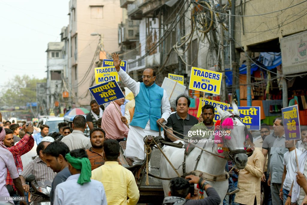 IND: Union Minister Vijay Goel Holds A Rally At Sadar Bazar Market