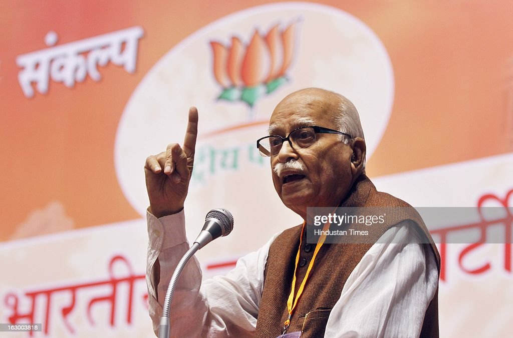 Senior BJP leader L K Advani addressing during the last day of the Party National Council Meeting on March 3, 2013 in New Delhi, India. Party meeting, which is aimed at strategising for the upcoming assembly and general elections as also looking at a reorganisation of the party structure.