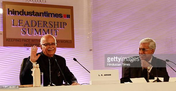 Senior BJP Leader L K Advani answering the question while moderator Karan Thapar looks on during the second day of Hindustan Times Leadership Summit...