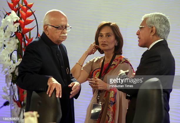 Senior BJP Leader L K Advani Chairperson Editorial Director of HT Media Ltd Shobhana Bhartia and Karan Thapar during the second day of Hindustan...