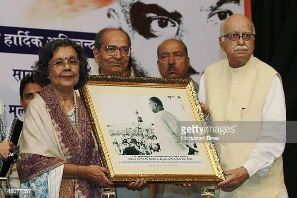 Senior BJP leader L K Advani with Manju Mookerjee Grand Daughter of Dr Shyama Prasad Mukherjee to celebrate the birth anniversary of Dr Shyama Prasad...