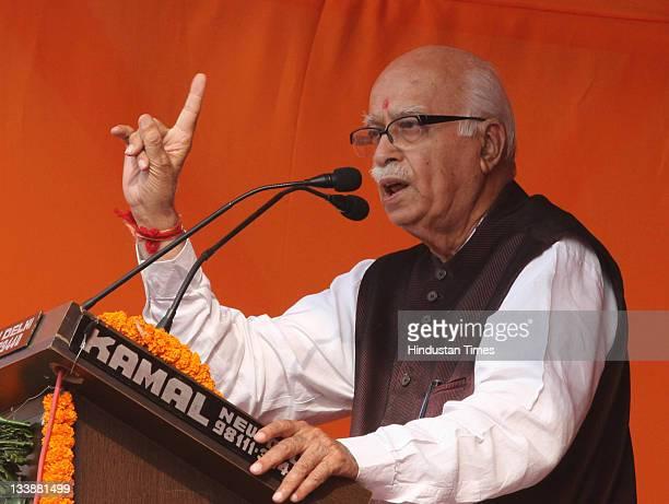 Senior BJP leader LK Advani addresses party supporters at the end of his 'Jan Chetna Yatra' at Ramlila maidan in New Delhi India on November 20 2011...
