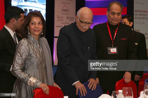 Senior BJP leader LK Advani with Rekha Purie and industrialist Rahul Bajaj at the concluding gala dinner