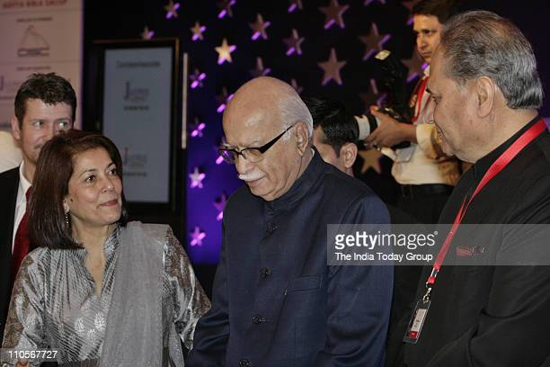 Senior BJP leader LK Advani with Rekha Purie and industrialist Rahul Bajaj during the gala dinner on Day 2 of the 10th India Today Conclave