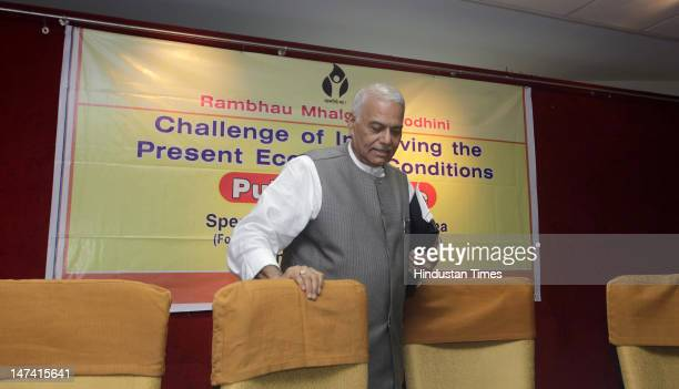 Senior BJP Leader Yashwant Sinha attends the lecture on the topic 'Challenge of Improving Present Economic Conditions' at the Maharashtra Chambers of...