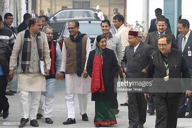 Senior BJP leaders Anant Kumar Shivraj Singh Chouhan Sushma Swaraj and others comes out after the BJP Parliamentary Board meeting at BJP Headquarter...