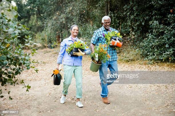 上級の黒カップル園芸 - 造園師 ストックフォトと画像