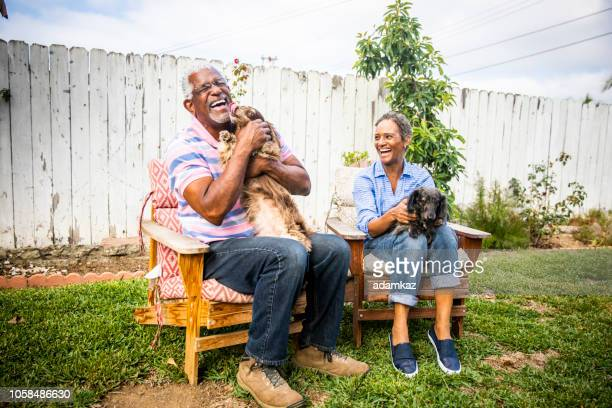 senior black couple with their dogs - african american couple stock pictures, royalty-free photos & images