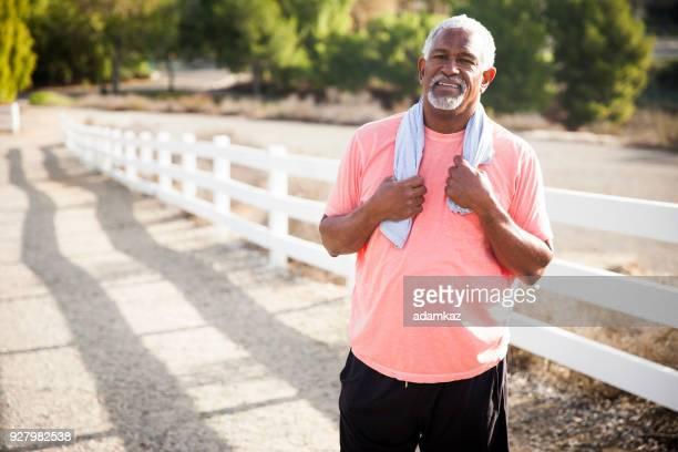 Senior Black Man After Workout
