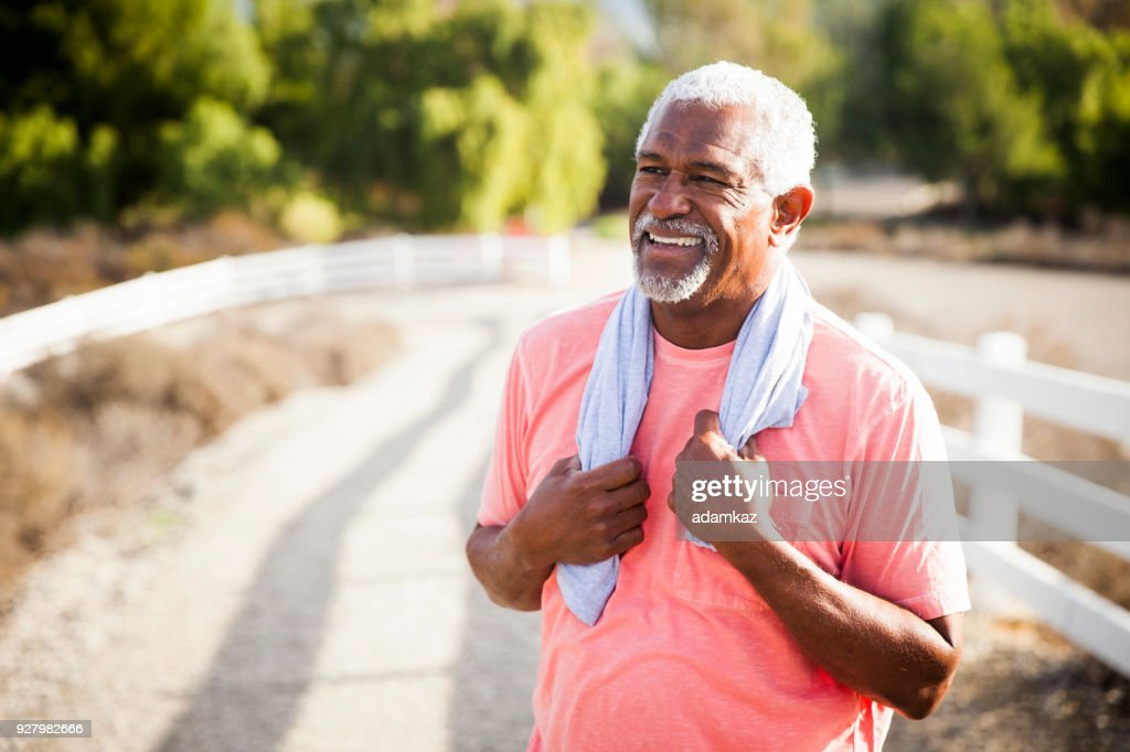 Senior Black Man After Workout : Stock Photo