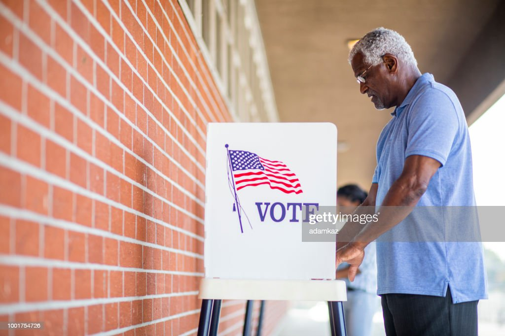 Senior Black Man Voting : Stock Photo