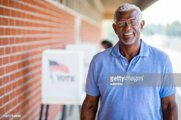 Senior Black Man Voting Portrait