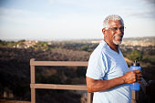 Senior Black Man with Water Bottle