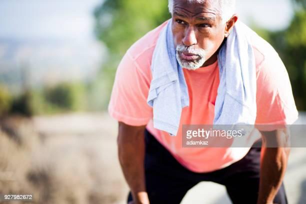 Senior Black Man Working Out