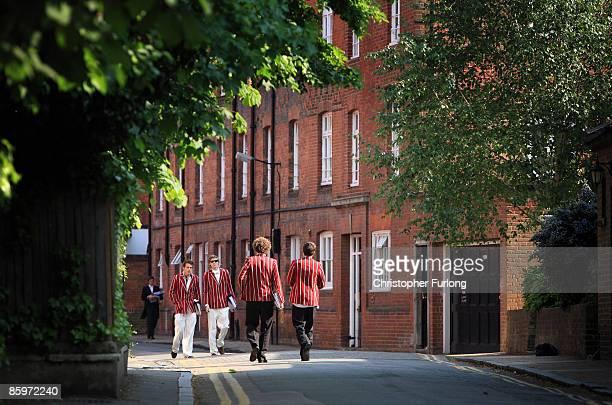 ETON ENGLAND Senior boys wearing their games blazers walk along Common lane at Eton College on May 21 2008 in Eton England An icon amongst private...