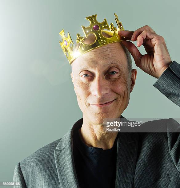 senior businessman, crown, king, leader, smiling, golden, fun, playful, - king royal person stock photos and pictures