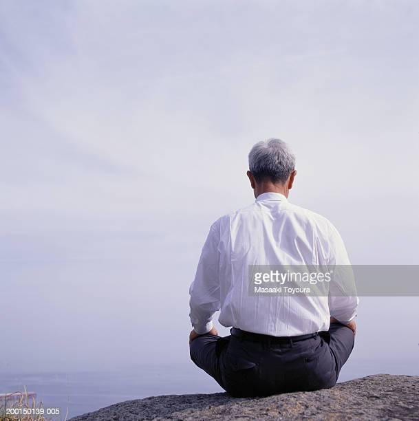 senior businessman sitting on rock overlooking water, rear view - 胡坐 ストックフォトと画像