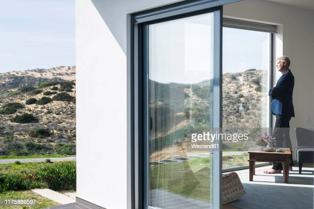 senior businessman standing at panorama window looking out - millionnaire stock pictures, royalty-free photos & images