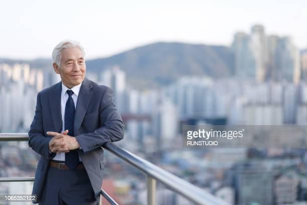 senior businessman standing on balcony railing - abbigliamento da lavoro formale foto e immagini stock