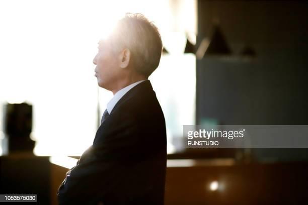 senior businessman thinnking - 最高経営責任者 ストックフォトと画像
