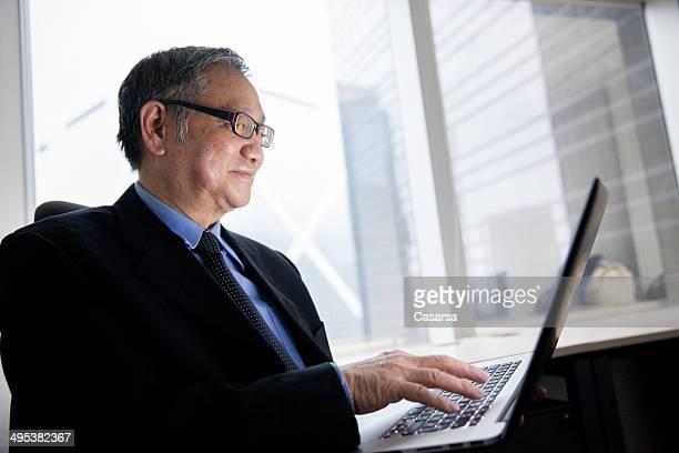 Senior Businessman using computer