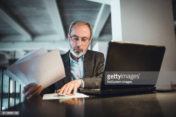 Senior businessman with beard working in high end restaurant, examining documents, using laptop